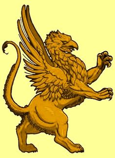 Golden Gryphon Ascendant Griffin Tattoo, Fantasy Creatures, Mythical Creatures, New Tattoos, Tatoos, Memorial Tattoos, Carving Designs, Arts And Crafts Movement, Fantastic Beasts