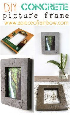 Make unique and fun Concrete picture frame! Perfect for industrial, chic homes!! | A Piece Of Rainbow