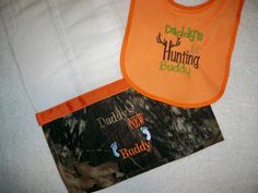 "Camo Burp Cloth & Bib Set ""Daddys New Huntin Buddy"" With Deer Horns Perfect for the Little Hunter - Baby Boy Camo Gift Set. $16.50, via Etsy."