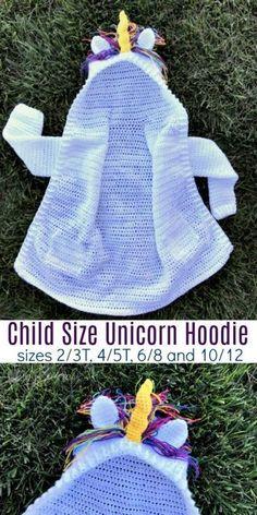 Child Size Unicorn Hoodie Crochet Pattern (size 10/12)