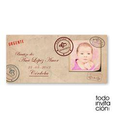 Invitación original de bautizo en forma de carta postal. TODOINVITACION.COM