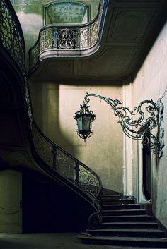 lantern, stairs, villa, stairway, dream, lamp, wrought iron, light, art nouveau