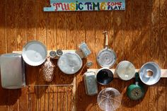 Outdoor banging wall: Hang pots and pans on the fence for kiddo. Plus other ideas for outdoor music play area.