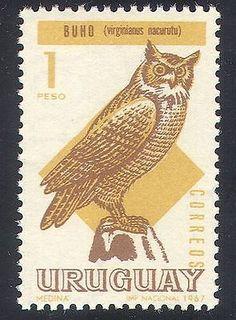 Uruguay 1967 Owls/Birds/Nature/Raptors, owl postage stamp