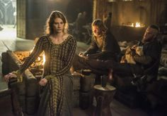 Vikings (series 2013 - ) Starring: Alyssa Sutherland as Princess Aslaug, Ragnar's second wife; Jefferson Hall as Torstein and Travis Fimmel as Ragnar Lothbrok. (click thru for high res)