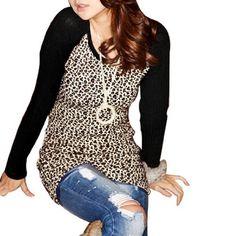 Allegra K Women Black Brown Leopard Pattern Round Neck Long Sleeves Shirt XS Allegra K. $15.18