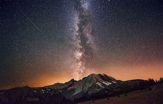 Milky Way galaxy over mountain