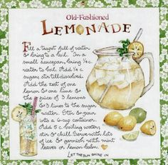 Lemonade by Susan Branch Refreshing Drinks, Summer Drinks, Fun Drinks, Beverages, Old Recipes, Lemon Recipes, Vintage Recipes, Smoothies, Old Fashioned Recipes