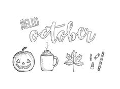 October doodles that I originally made for my studygram (they have a pastel background there… :D), but I thought I'd share them here too in case you'd like to use them in your bujo or something :D.