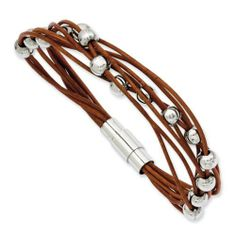 "Stainless Steel Polished Beads & Brown Leather 7.5in Bracelet Length 7.5"" Jewelry Adviser Beads. $27.50"