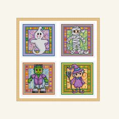 A set of four halloween cross stitch charts, featuring a ghost, a mummy, Frankensteins monster and a witch. Would be ideal for cards, small gifts or decorations.  Chart specs. • stitch count - 50 x 50 stitches • finished size - 3.6 in x 3.6 in / 9 cm x 9 cm  when sewn on 14 count even weave • stitches used - whole cross stitch, half cross stitch, fractional stitches, back stitch and french knots.  This chart arrives to you as an instant pdf download.  The pdf includes • full colour chart…