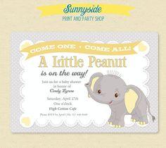 Elephant / Little Peanut Baby Shower Invitation - Printable Invite in Grey/Yellow