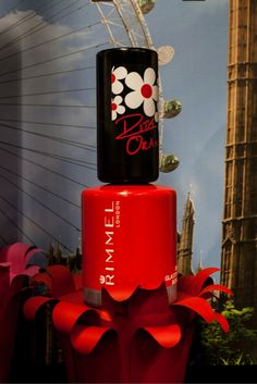 Giant nail varnishes and flowers for Rimmel London Look Vloggers Event with Rita Ora