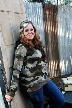 Long Sleeve Camo Sweater-Wear Us Out Boutique Conroe/Montgomery Texas
