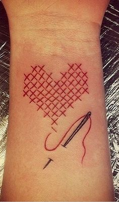 33 Real Fashion Tattoos That Will Inspire Your Next Ink: Heart Stitch