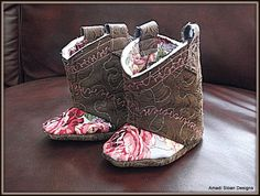 Baby Cowgirl Shabby Chic Boots Infant Booties by AmadiSloanDesigns, $39.00