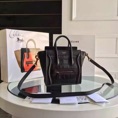 9e29b1d37afb Celine Nano Luggage in Original CROCO and Smooth Calfskin Black Celine Nano  Luggage