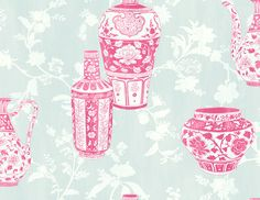 Nina Hancock Vases Pink Wallpaper a beautiful vase design wallpaper, inspired by the orient in a vibrant pink colour scheme, creating an impressive feature. Wallpaper Size, Grey Wallpaper, Wallpaper Samples, Home Wallpaper, Wallpaper Roll, Oriental Wallpaper, Classic Wallpaper, Pink Color Schemes, Light Blue Flowers