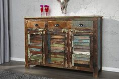Sideboard JAKARTA recycled wood colorful 125cm fishing boats