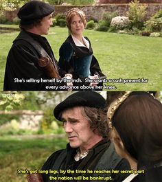 Wolf Hall (BBC 2015) Thomas Cromwell and Mary Boleyn discussing her sister Anne and Henry VIII