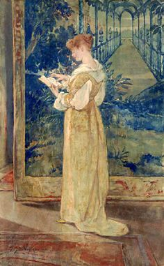 A Sonnet - Woman Reading by Walter Shirlaw.