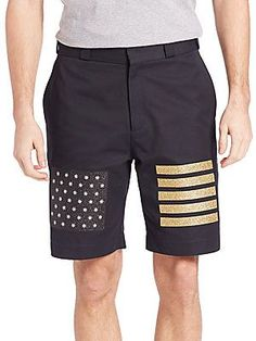 Palm Angels Flag Shorts - Navy - Size