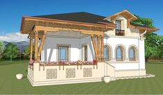 Proiecte de case in stil neoromanesc traditionale Style At Home, Neo Traditional, Design Case, Home Fashion, Gazebo, Architecture Design, Outdoor Structures, House Design, Mansions