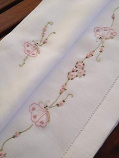 Collezione 1 Baby Embroidery, Flower Embroidery Designs, Embroidery Fashion, Vintage Embroidery, Cross Stitch Embroidery, Embroidery Patterns, Machine Embroidery, Embroidered Pillowcases, Baby Clothes Patterns
