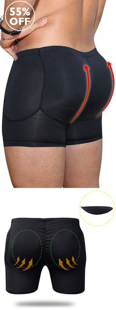 849dbfb6be Men Plus Size Sexy Butt Lifting Slim Shapewear Compression Trunk Boxer  Front Opening Pad Underwear