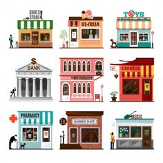Set of flat shop building facades icons. Vector illustration local market store design. Street restaurant, retail, shoes stall, ic