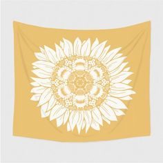 Sunflower Tapestry - Extra Large Wall Art - Dorm Decor - Gift for Her Mandala Artwork, Mandala Tapestry, Sunflower Mandala, Headboard Decor, Bedroom Decor, Tapestry Bedroom, Extra Large Wall Art, Queen Size Bedding, Creative Decor