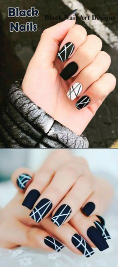 Most Beautiful Black Winter Nails Ideas Such a cute black nails ideas!Such a cute black nails ideas! Black Nail Designs, Colorful Nail Designs, Nail Art Designs, Nails Design, Winter Nail Designs, Gelish Nails, My Nails, Nail Nail, Nail Polishes