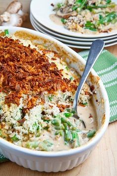Green Bean Casserole ingredients 2 pounds green beans, trimmed and cut into bite sized pieces 2 tablespoons butter 1 small onion, diced 8 ounces mushrooms, sliced 1 clove garlic, chopped 1/2 teaspoon thyme, chopped salt and pepper to taste 2 tablespoons flour 1/2 cup dry white wine 1 cup vegetable or chicken broth 1/2 cup heavy cream 1 cup gruyere or cheddar (optional), grated salt and pepper to taste 2 tablespoons butter, melted 1/2 cup panko bread crumbs 1/4 cup french fried onions