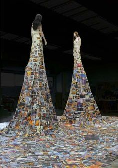 Dresses made from photos by Thomas Hirschhorn