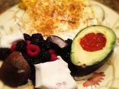 Curry Eggs, Berries and Coconut, and Avocado with Salmon Roe: 7/2/13
