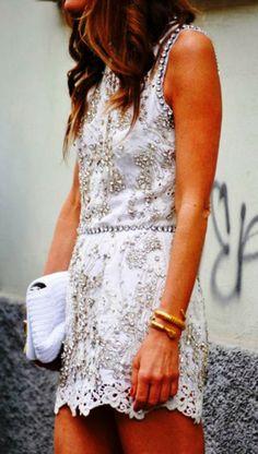 Gorgeous embroidery sleeveless white mini dress