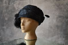 1910 Edwardian Hat Woven Raffia and Acetate by Petrune on Etsy af8dd9a05c42