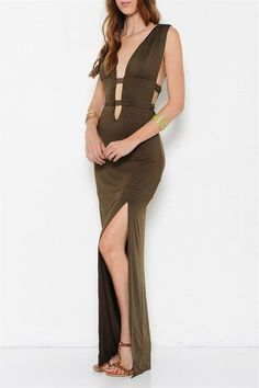 Athena Plunge Neck Open Back Dress - Olive