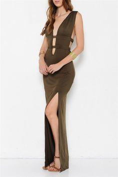 Athena Plunge Neck Open Back Dress - Olive