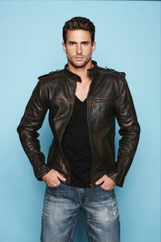 Simple classic black leather jacket, looks best with faded denims. Not so sure about the v-neck tee