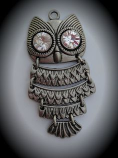 Silver Clear Crystals Owl Pendant by JewelryMakingSupply on Etsy, $2.49