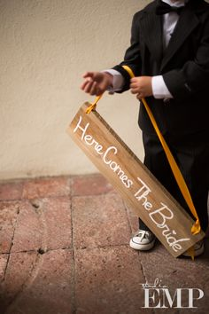 A great rustic sign for the little ring bearer | @Studio EMP Photography