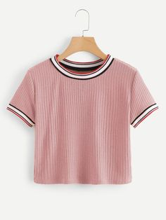 Colorful Striped Cuff Tee - Colorful Striped Cuff TeeFor Women-romwe Source by . - Colorful Striped Cuff Tee – Colorful Striped Cuff TeeFor Women-romwe Source by lailakirschbaum - Teen Fashion Outfits, Fashion Mode, Outfits For Teens, Summer Outfits, Crop Top Outfits, Cute Casual Outfits, Swag Outfits, Vetement Fashion, Cute Crop Tops