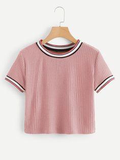 Camiseta con puños de rayas vistosas Ropa De Chicas 0b02fe45a1c