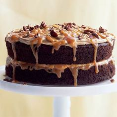 Double-Caramel Turtle Cake | MyRecipes.com
