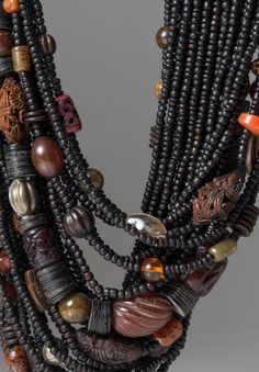Monies UNIQUE Cornelia, Jade, Amber & Seeds Necklace