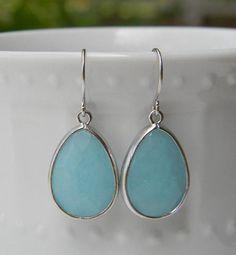 Tiffany Blue Earrings Trimmed in Silver-Drop Earrings-Dangle Earrings-Bridal