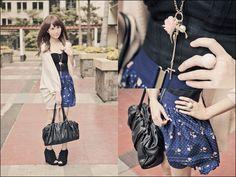 Asian Vogue Tassel Wedges, Topshop Corset Top, Forever 21 High Waisted Floral Skirt, M)Phosis Bag, Forever 21 Ring, Necklace, Topshop Cardigan
