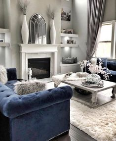 This Gorgeous Home belongs to Slay ❣ livingroomdesign livingroom casa newhome homestaging kitchendesign farmhousestyle interior_and_living kitchen homedesign homedecor homeinspo bedroomdesign Navy Living Rooms, Blue Living Room Decor, Glam Living Room, Elegant Living Room, Living Room Grey, Formal Living Rooms, Home And Living, Navy Blue And Grey Living Room, Blue Living Room Furniture