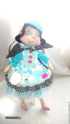 Купить Кукла Аленка. - бирюзовый, кукла ручной работы, кукла, малиновый, девочка, шоколад, какао